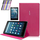 Mignova Folio Case for All-New Amazon Fire HD 8 Tablet (7th Generation, 2017 Release) - Slim Fit Premium Leather Cover with Auto Wake / Sleep + Screen Protector Film and Stylus Pen (Pink)