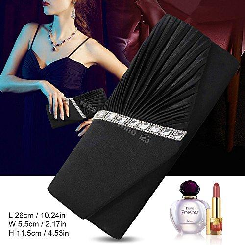 Crossbody Womens Bridal Purse wedding Clutch Elegant Studded Evening Wocharm Black Satin Crystal Handbag Pleated Ladies xR8wzBnO
