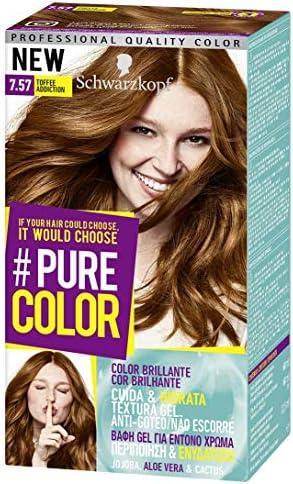 Schwarzkopf Pure Color Tinte Permanente 7.57 Toffee Addiction, paquete de 3