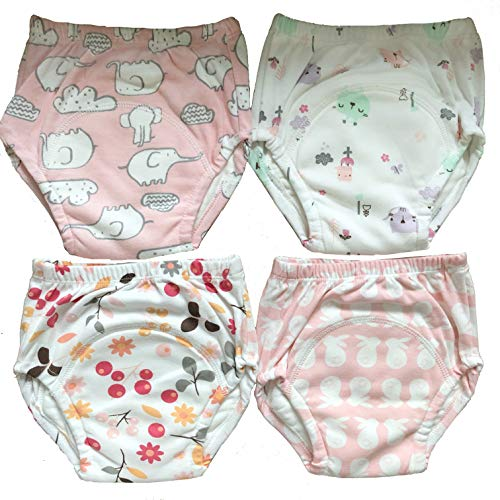 4 MOM & BAB Potty Training Pants/Padded Underwear for Toddlers | Washable & Resuable | Soft Cotton | Comfortable Fit for Your Baby (Small-4 Pack)