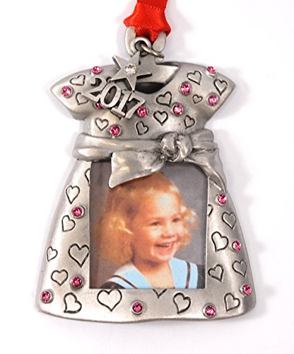 Christmas Tree Austrian Crystal (2018 Baby Girl Photo Christmas Ornament Pewter with Rose color Austrian Crystals MADE IN USA)