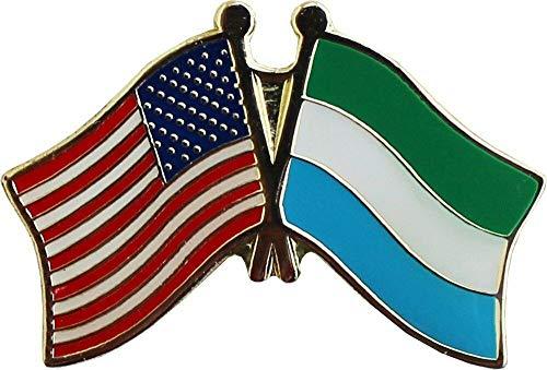 (RFCO Flag Bike Motorcycle Hat Cap Lapel Pin - USA American Sierra Leone Friendship)
