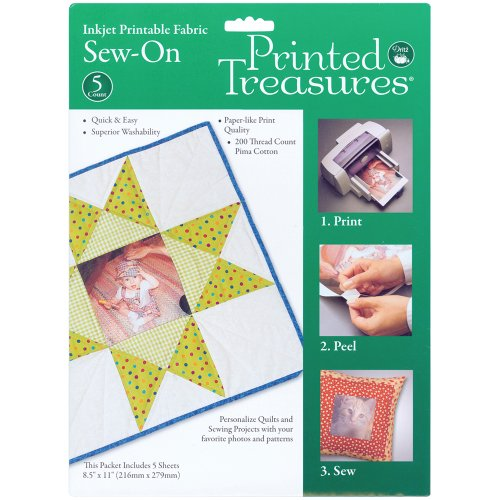 Printed Treasures Inkjet - Printed Treasures Inkjet Printable Fabric, Sew-On, 5 sheets