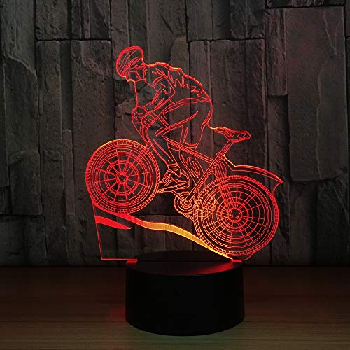 YZYDBD 3D Night Light Optical Illusion Night Lamp,Mountain Bike Rider 3D Night Light 7 Colors Changing Led Desk Table Lamp 3D Illusion Sports Fans Gift for Boyfriend Kids