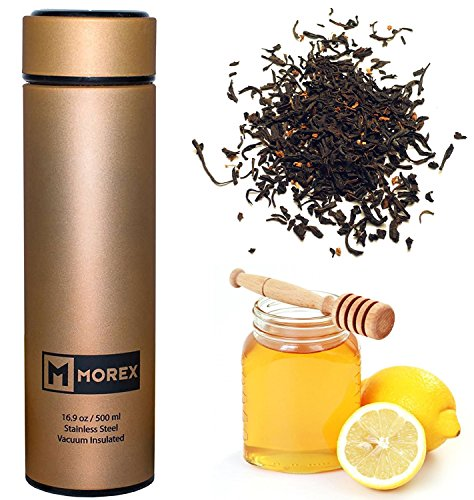 Morex Coffee Thermos, Stainless Steel Water Bottle, Thermos Bottle, Vacuum Insulated Water Bottle, Thermos Water Bottle, FDA Approved with Tea Infuser, Capacity: 500ml or 16.9 oz