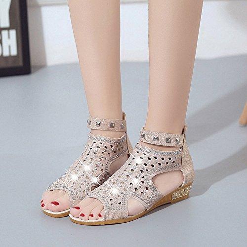 BUIMIN Zapatos Sandalias Mujer, Calado,con Rhinestone Artificial, Verano, de Tacón Bajo, Boca de Pescado, Elegante, de Moda, Talla 36-40 B(beige)