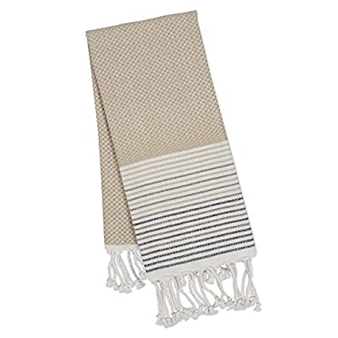 DII 100% Cotton, Machine Washable, Turkish Fouta Towel, Fast Drying, Ultra Soft & Absorbent, Multi Use Towel/Blanket, 39 x 78 - Taupe Diamond