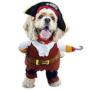 AMUR LEOPARD Funny Pet Clothes Pirate Dog Cat Cosplay Costume Suit Corsair Dressing up Party Apparel for Cat Dog