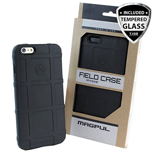 iPhone SE Case, iPhone 5S/5 Case, Magpul [Field] Polymer Drop Protection Case Cover MAG452 Retail Packaging for Apple iPhone SE/5S/5 + TJS Tempered Glass Screen Protector (Black)