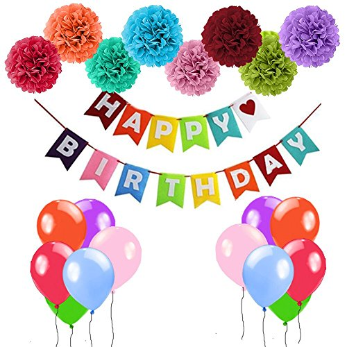 Happy Birthday Party Decorations Banner Birthday Party Supplies with Birthday Balloons Happy Birthday Banner Paper Pom Poms for Kids and Adults by Tuoyi Toys
