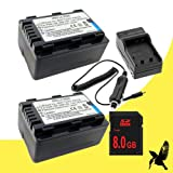 Two Halcyon 2400 mAH Lithium Ion Replacement Battery and Charger Kit + 8GB SDHC Class 10 Memory Card for Panasonic SDR-T70 Digital Camcorder and Pnasonic VW-VBK180