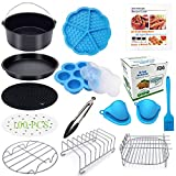 Eco Moda 8 inch XL Air Fryer Accessories 12 pcs with Recipe Cookbook Compatible with Ninja Foodi 5&6.5 (OP101,OP301,OP302,OP401,FD401) and Growise Cosori Ninja and Philips Fit all 5.3QT - 5.8QT