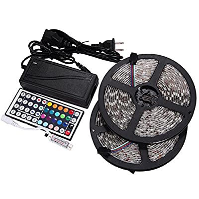 NEWSTYLE 2 Reels 12V 32.8Ft Flexible RGB LED Strip Light Kit, Multi-colored, 300 PCS 5050 LEDs, LED Strip Kit & MINI 44-key IR Controller + 12V 5A Power Supply, IP65 Waterproof, Adhesive Light Strips by NEWSTYLE
