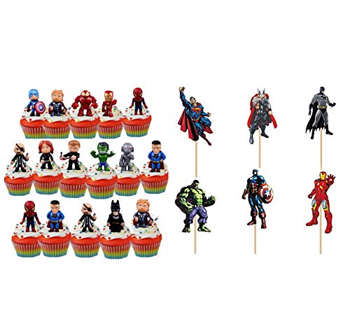 Pack of 40 The Avengers and Superheros Cupcake Topper 24 Picks and 16 Action Figure Boy Children Party Decoration Kids Birthday Party Decoration Supplies