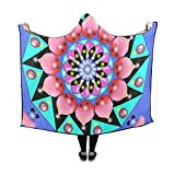 YIJIEVE Hooded Blanket Mandala Symmetry Meditation Ornament Ornamental Blanket 60x50 inch Comfotable Hooded Throw Wrap