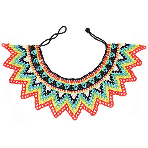 Idealway African Zulu Beaded Necklace Tribal Choker Colorful Acrylic Indian Ethnic Bib Collar (Colorful 7192A)