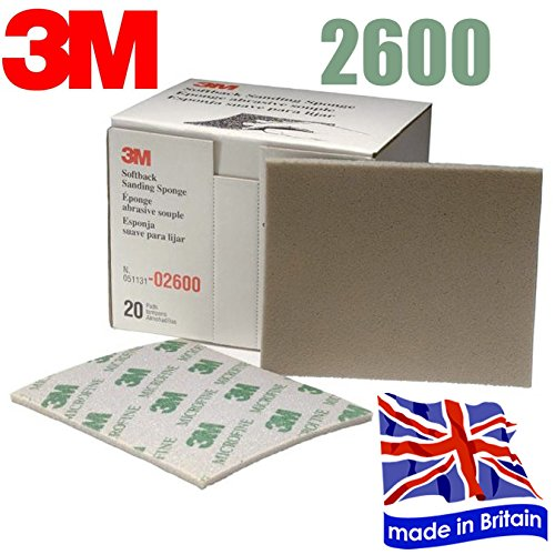 3M 2600 Sanding Sponge Sand Paper Sandpaper MicroFine Softback 20 Sheets (1 Box) DinDinStore