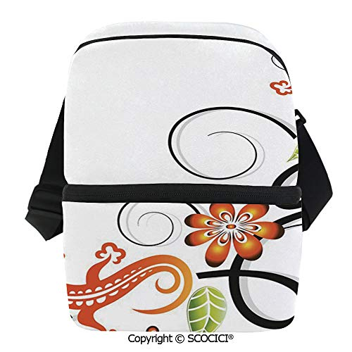 SCOCICI Reusable Insulated Grocery Bags Small Baby Lizard Flowers and Leaves with Oriental Lines Print Thermal Cooler Waterproof Zipper Closure Keeps Food Hot Or Cold