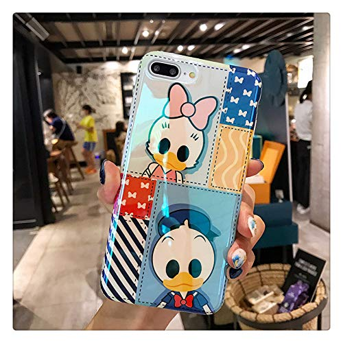(Ultra Slim Soft TPU Blue Donald Daisy Duck Case for iPhone 7Plus 8Plus 7+ 8+ Shockproof Stripes Bow Tie Shiny Smooth Disney Cartoon Cute Chic Lovely Stylish Special Cool Girls)