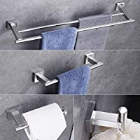 Hoooh 4-Piece Bathroom Accessories Set Brushed Stainless Steel Wall Mount - Includes Double Towel Bar, Hand Towel Rack, Toilet Paper Holder, Robe Hooks, BS101S4-BN