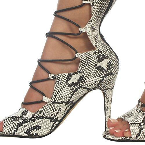 Zip A Donna Partito Spillo Nero Alla Tacco Lacci bianco Peep Caviglia Da Con Toe Alto Scarpe 7XdHYq