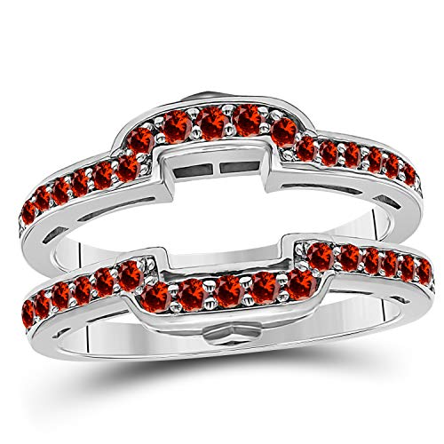 Garnet Womens Jacket - 14k White Gold Plated Alloy Square Halo Style Engagement Wedding Enhancer Ring Guard with CZ Red Garnet (0.50 ct. tw.)