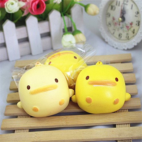 (^YW^^ ❤ Squishy Toy , Squishy Cute Yellow Duck Bread Phone Straps Slow Rising Bun Charms Gifts Toys )