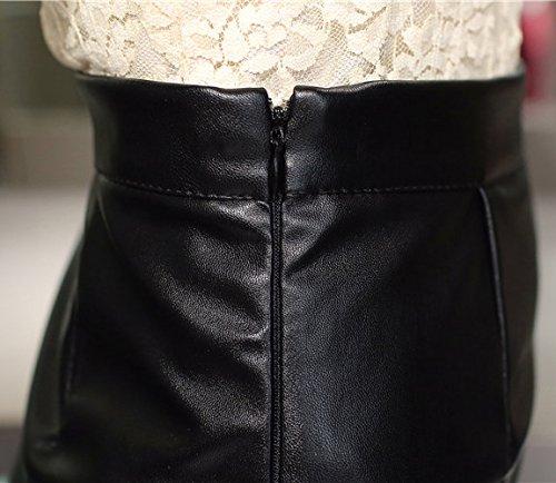 Helan Mujeres Las faldas de cuero del remache de la vendimia de la alta cintura de la borla de la PU Negro