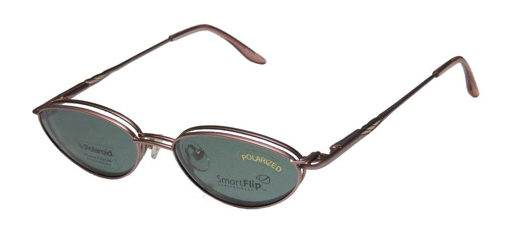 SmartFlip 424-B Mens/Womens Cat Eye Full-rim Sunglass Lens Clip-Ons Flexible Hinges Eyeglasses/Glasses (49-16-135, Rose) by SMART STOCK