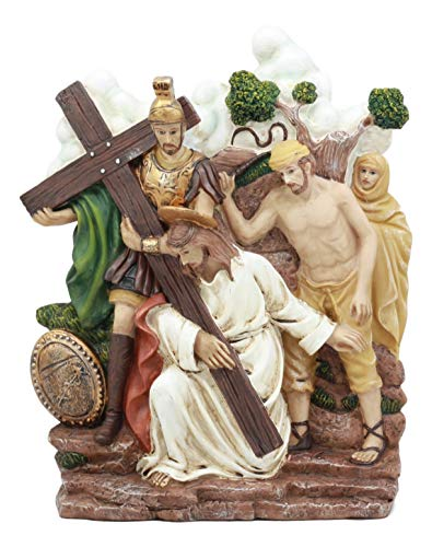 Ebros Christian Catholic Stations of The Cross Statue Or Wall Plaque Way of The Sorrows Via Crucis Jesus Christ Path to Calvary Crucifixion Decor Figurine (Station 3 Jesus Falls The First time)