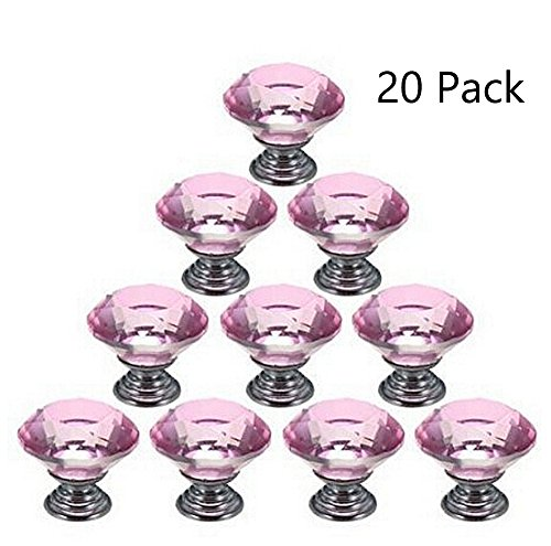 Magik 20Pcs Crystal Glass Cabinet Knob Diamond Shape 30mm Drawer Cupboard Handle Pull (Pink) ()