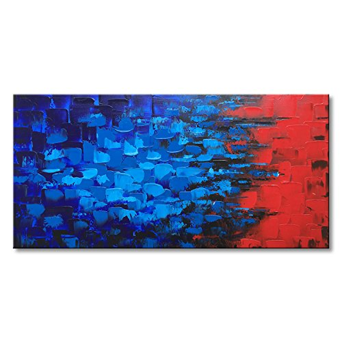 Blue and Red Abstract Canvas Wall Art Hand Painted Textured Modern Oil Painting by Seekland Art