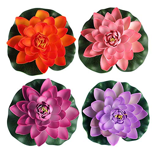 Newest trent Set Of 4 Different Color Artificial Floating Pond Decor Water Lily/Lotus Foam Flower for Aquarium Garden Pond - 3 Size Available (3.5'' h x 11'' Dia) by Newest trent
