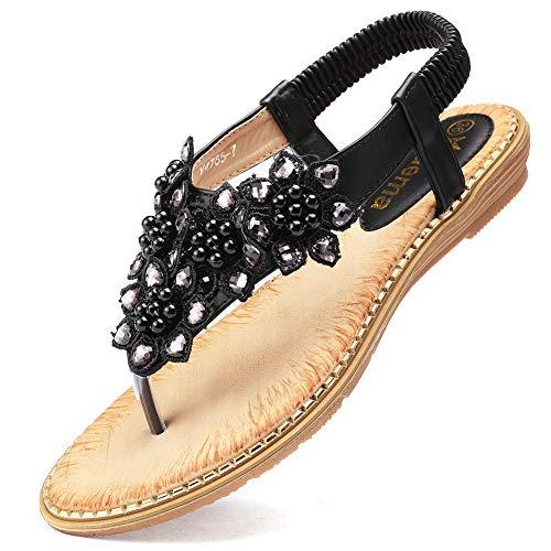 Odema Women's Bohemian Flat Sandals Elastic Slip On Flower Rhinestone Flip Flop Shoes Black ()