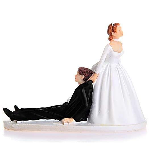 LinTimes Love Runaway Groom Wedding Cake Funny Couple Topper Figurine Now I Have You Resin