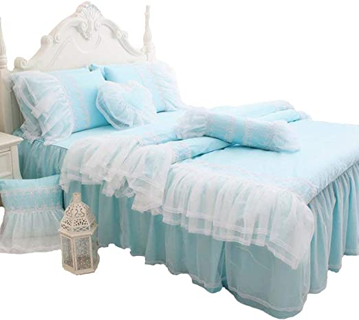 Amazon Com Abreeze White Ruffled Duvet Cover Sets Korean Princess Light Blue Bedding Girl Bedroom Sets Lace Design Girls Bedding Set Twin 4pcs Home Kitchen