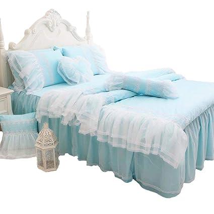 Abreeze White Ruffled Duvet Cover Sets Korean Princess Light Blue Bedding  Girl Bedroom Sets Lace Design Girls Bedding Set Twin 4PCS