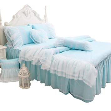Abreeze White Lace Duvet Cover Sets Korean Princess Light Blue Bedding Girl  Bedroom Sets Full 4PCS