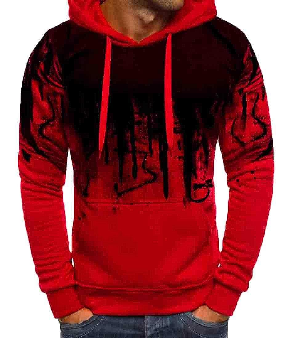 Nanquan Men Hood Pullover Vogue Letter Print Casual Sweatshirt