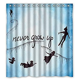 amazoncom peter pan never grow up custom shower curtain home decor bathroom waterproof fabric fashion bath curtain scn008 clothing