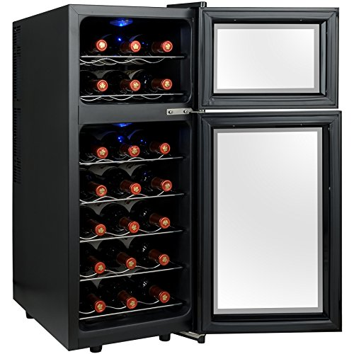 Electric Wine Cellar : Firebird bottles dual zone black finish touch control