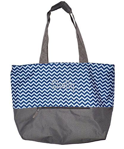 - XL Beach Tote Chevron Print Weekender Bag with Mesh Webbed Handles and Outer Zippered PocketCan Be Personalized (Personalized, Navy Blue)