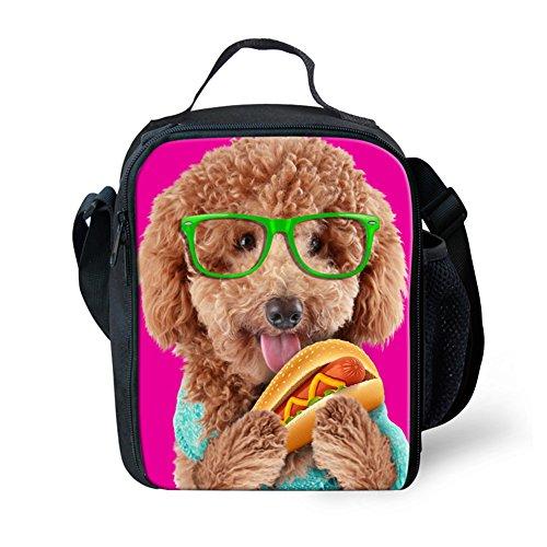 [HUGSIDEA Funny Dogs Poodle Print Child Lunch Box Cooler Food Bag Pink] (Poodle Cooler)