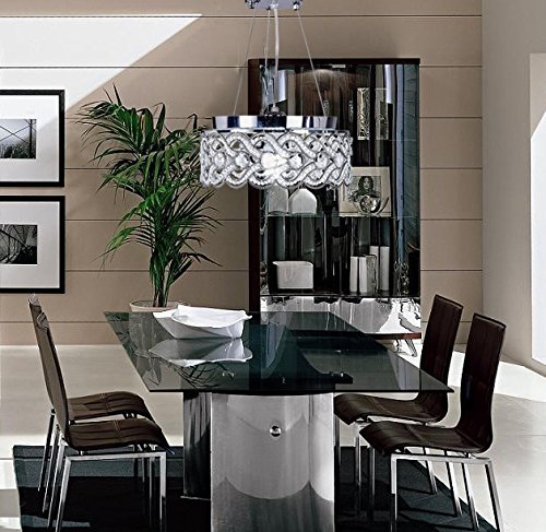 SwanHouse Flush Mount Pendant Ceiling Lighting Chandelier Silver Modern Lamp KPP W15 x H9 by SwanHouse (Image #5)