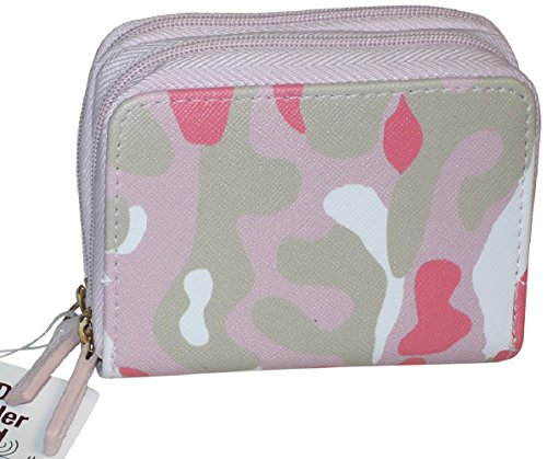 Buxton Womens RFID Accordion Double Zippered Wizard Credit Card ID Holder Travel Wallet (Pink-Camo) ()
