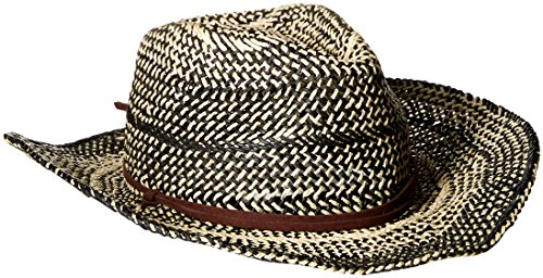 D&Y Women's Two Tone Cowboy Hat with Chinstrap, Black, One Size