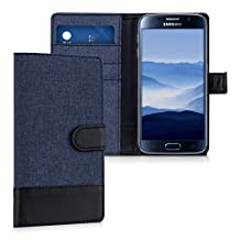 kwmobile Wallet case canvas cover for Samsung Galaxy S6 / S6 Duos - Flip case with card slot and stand in dark blue black