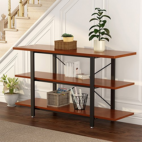 "LITTLE TREE 3-tier Console Sofa Table Bookcase Bookshelf, 59""x15.74""x29.53"", Cherry by LITTLE TREE"