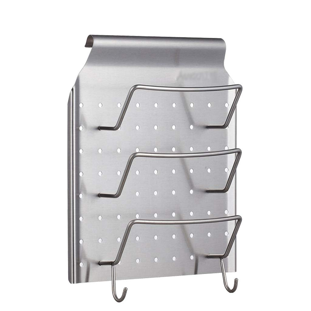 AYX Cover Organizer Stainless Steel Wall-mounted High Load-bearing Lid Organizer Home Multi-function Lid Storage Rack (Color : SILVER, Size : 3427CM) by AYX