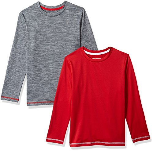 Amazon Essentials Little Boys' 2-Pack Long-Sleeve Basic Active Tee, Tango Red/Heather Grey, X-Small